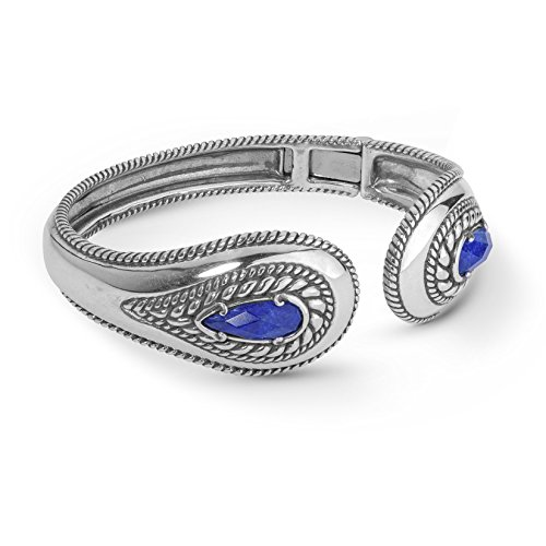 Carolyn Pollack Sterling Silver & Lapis Crystal Quartz Doublet Hinged Bracelet by Carolyn Pollack