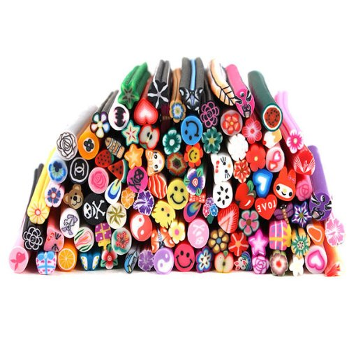 EFT 100pcs 3d Polymer Clay Rods Stick Nail Art Decoration Canes Rod Stickers