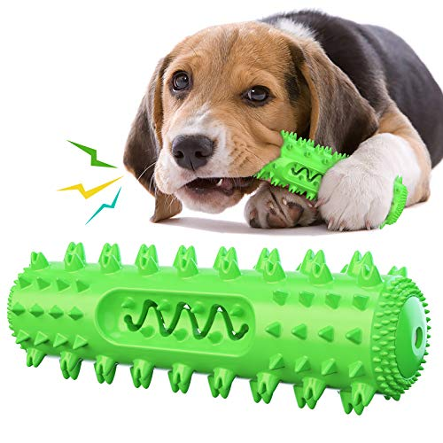 USWT Dog Squeaky Toy Bite-Resistant Interactive Puppy Molar Toys Dog Supplies Dog Float Toy Pet Chew Molar Stick Toothbrush Brush Teeth by Himself Durable New Material (Green)