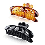 4.5' Large Crystal Plastic Hair Claw Clips for Thick Hair Women,Pack of 2 Black