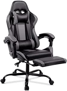 ALFORDSON Gaming Racing Chair Executive Sport Office Chair with Footrest PU Leather Armrest Headrest Home Chair in Grey Colour