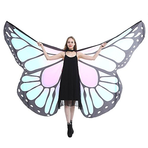 VEFSU Egypt Belly Wings Party Dancing Costume Butterfly Wings Dance Accessories No Sticks (Light Blue) ()