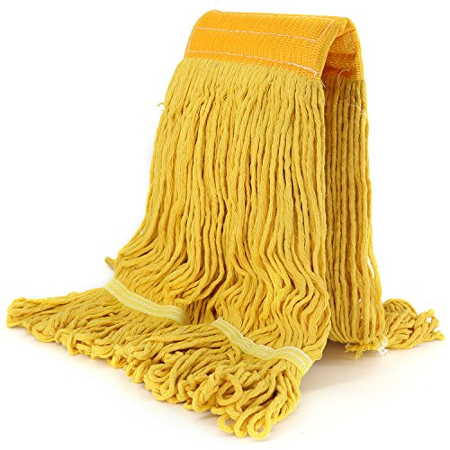 Replacement Mop Head Refill Hand Free Easy Wring Mop Head Heavy Duty Looped-End String Mop Commercial Swinger Mop Head Refill Blend Mop Commercial Or Home Cotton Mop Head (Yellow)