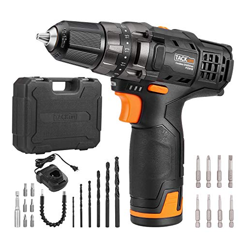 TACKLIFE 12V Cordless Drill Driver,3 8 Metal Chuck,2 Speeds Compact Drill Set with 13pcs Accessories,2000mAh Lithium Battery Pack and 1Hour Fast Charger,PCD01B
