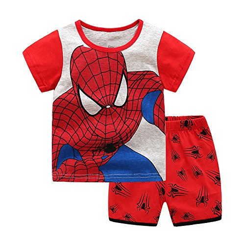 Meteora Boys Short Pajamas Toddler Kids Super Hero PJS Snug Fit Sleepwear Summer Clothes Shirts (Spiderman, 4-5T) ()