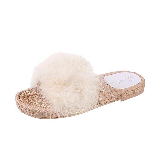 Zapatillas de Playa para Mujer, SUNNSEAN Chanclas de Pelo Plano con Fondo Antideslizante Sólido Cómodo Casual Calzados de Verano Sandalias: Amazon.es: Ropa ...