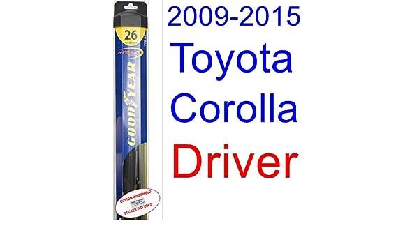 2009 - 2015 Toyota Corolla LE hoja de limpiaparabrisas de repuesto Set/Kit (Goodyear limpiaparabrisas blades-hybrid) (2010,2011,2012,2013,2014): Amazon.es: ...