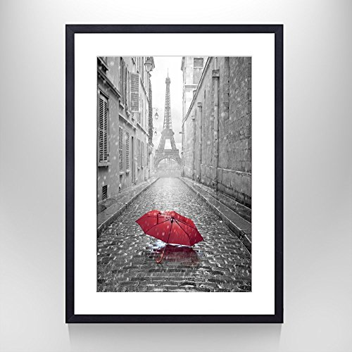 Creative Art - 24''x36'' Black Picture Frame - Romantic Paris Street Contemporary Art Poster Prints Eiffel Tower with Red Umbrella Photography Framed Wall Mounting Ready to Hang -