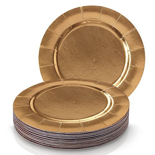 DISPOSABLE ROUND CHARGER PLATES - 20pc (Gold) -