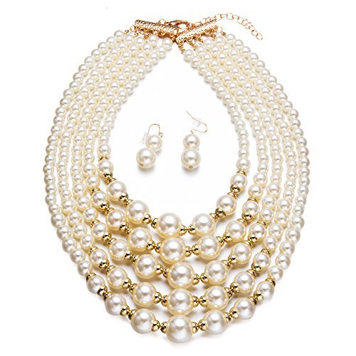 Yuhuan Women Elegant Jewelry Set White Pearl Bead Cluster Collar Bib Choker Necklace and Earrings Suit(Ivory) ()