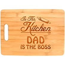 Father's Day Gift for Dad In This Kitchen Dad is the Boss Funny Big Rectangle Bamboo Cutting Board