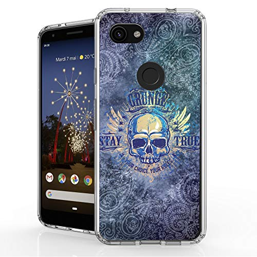 DuroCase 4 Corner Shockproof TPU Bumper & Hard Plastic Back Case for Google Pixel 3a (2019)(Clear Transparent) - Skull Illusion - Illusion Skull