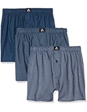 FM London Men's Woven, Polycotton Boxer Shorts, Multicoloured (Navy), Small (Pack of 3