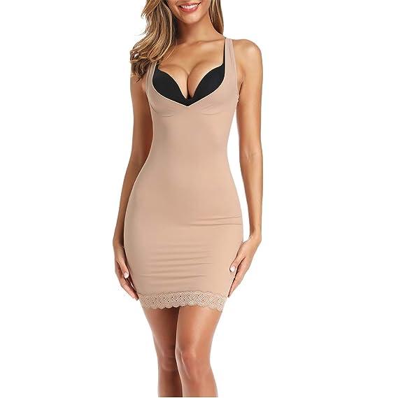 Joyshaper Womens Full Slips for Under Dresses Long Cami Slip Dress Seamless Shapewear Slip V Neck
