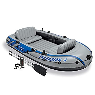 68324EP Intex Excursion 4, 4-Person Inflatable Boat Set with Aluminum Oars and High Output Air Pump (Latest Model) by Intex