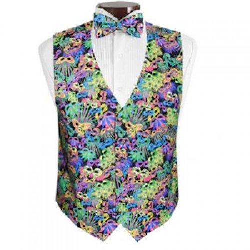 Mardi Gras Carnival Masks Tuxedo Vest and Bow Tie Size Large