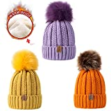 REDESS Kids Winter Warm Fleece Lined Pom Pom Beanie Hat, Baby Toddler Knit Cap