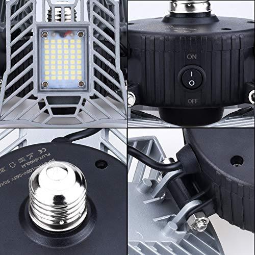 LED Garage Light Motion Detection - Motion Activated Aluminium LED - Best LED Light Bulb for Garage - 6000LM CRI Garage LED Lighting System - 3 Adjustable Panels - 2018 New Design LED Garage Lighting by JMTGNSEP (Image #1)