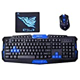 Mily Wireless Gaming Keyboard and Mouse Combo-2.4Ghz Ten multimedia hot keys 1600dpi Ergonomic & Water-Resistant Keyboard Mouse