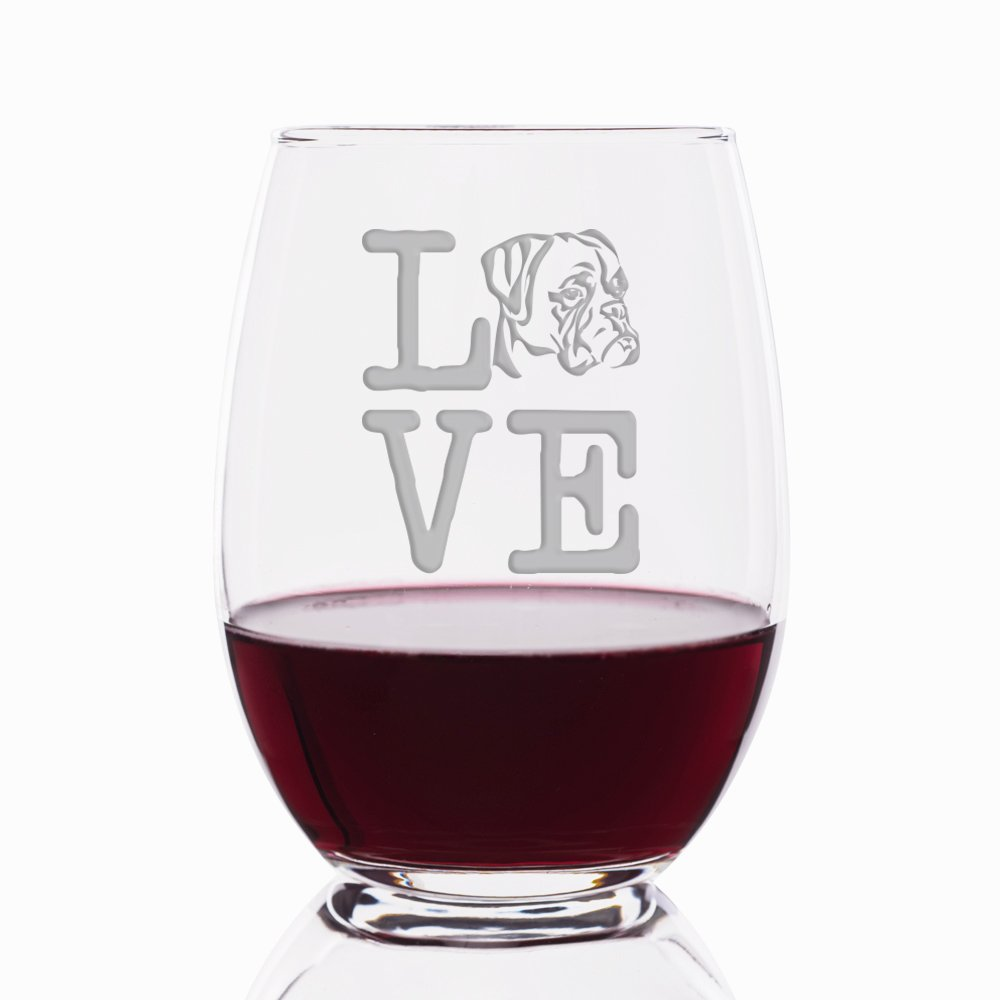 Love Boxer Engraved Stemless 21 oz Wine Glass - 4pcs by Mic & Co