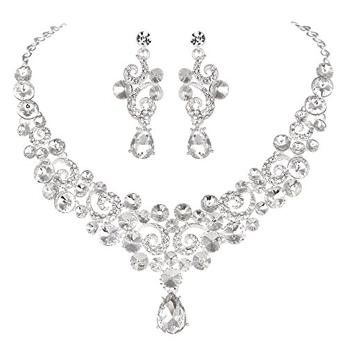 Youfir Crystal Flower Teardrop Pendant Wedding Necklace Dangle and Earrings Jewelry Sets for Brides