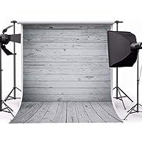 MOHOO 5X7ft Newborn Gray Wood Floor Photography Backdrop Art Fabric Studio Background Photo Props Studio 1.5x2.2m No Wrinkles (Rolled)