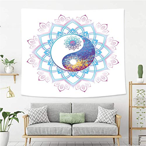 BEIVIVI Creative Custom Tapestry Ethnic Yin Yang Symbol Mandala Hippie Asian Design with Floral Swirl Frame Image Decorative Purple and Light Blue Wall Tapestry with Art Nature Home Decorations