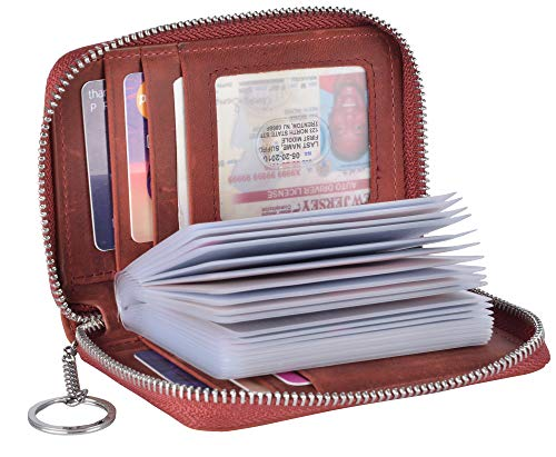 Yeeasy Credit Card Wallet Holder Zip Bifold Wallet Genuine Leather 25 Card Slots (Wine Red)