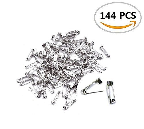 144PCS IFfree 2-Hole Brooch Badge,Metal Brooch Badge Locking Findings Back Safety Catch Bar Pin-30mm. - 30 Back Bar
