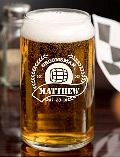 Personalized Beer Glass - Custom Beer Mug, Pint Glass, Pilsner Glass | Add your own Engraved Text - Barrel Design (Beer Can Glass)