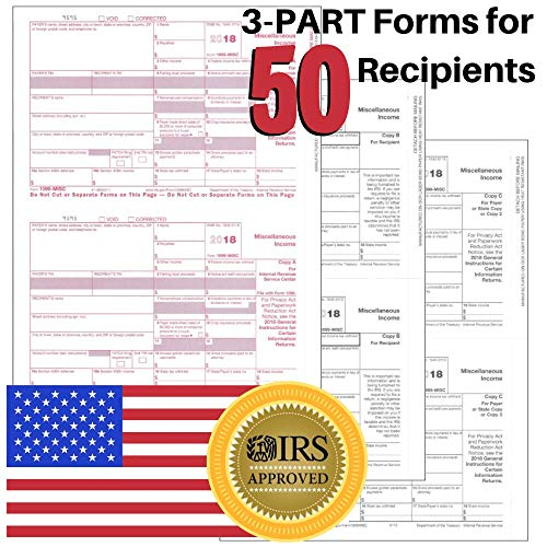 1099-MISC Tax Forms for 2019 Returns - 3 Part Kit - 50 Pack + 1096 Laser Transmittals - 8.5