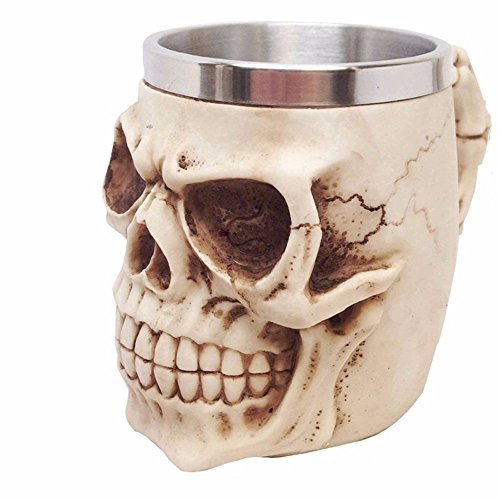 Stainless Steel 3D Skull Mugs Coffee Tea Bottle Mug Skull Dragon Drinking 350ML Double Wall (#7) - Glow Worm Costume Adults