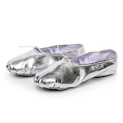 HCCY Plata Lunares lustrosos Zapatos de Entrenamiento con Garras de Gato con Fondo Blando para Mujer Zapatos de Ballet de Interior con Cuerpo de Yoga ...