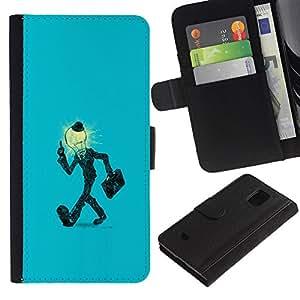 All Phone Most Case / Oferta Especial Cáscara Funda de cuero Monedero Cubierta de proteccion Caso / Wallet Case for Samsung Galaxy S5 Mini, SM-G800 // Light Bulb Man in Suit