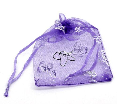 Butterfly Cellophane (100 Pc Butterfly Organza Gift Bag Pouches, Wedding Party (Dark Purple))