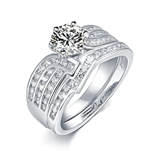 Valentine's Day Gift Bridal Set 1.2ct White Round Cubic Zirconia 925 Sterling Silver Wedding Engagement Ring Sets Size 5-10
