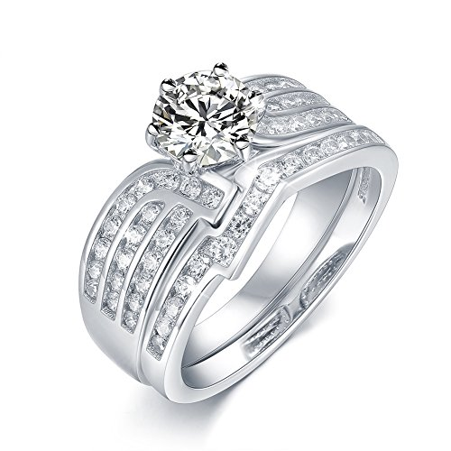 Women's Gift Bridal Set 1.2ct White Round Cubic Zirconia 925 Sterling Silver Wedding Engagement Ring Sets Size 5-10 (Gold And Silver Engagement Rings)