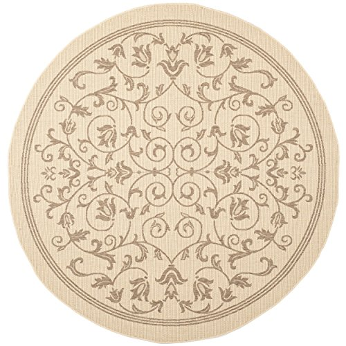 Safavieh Courtyard Collection CY2098-3001 Natural and Brown Indoor/ Outdoor Round Area Rug (5'3