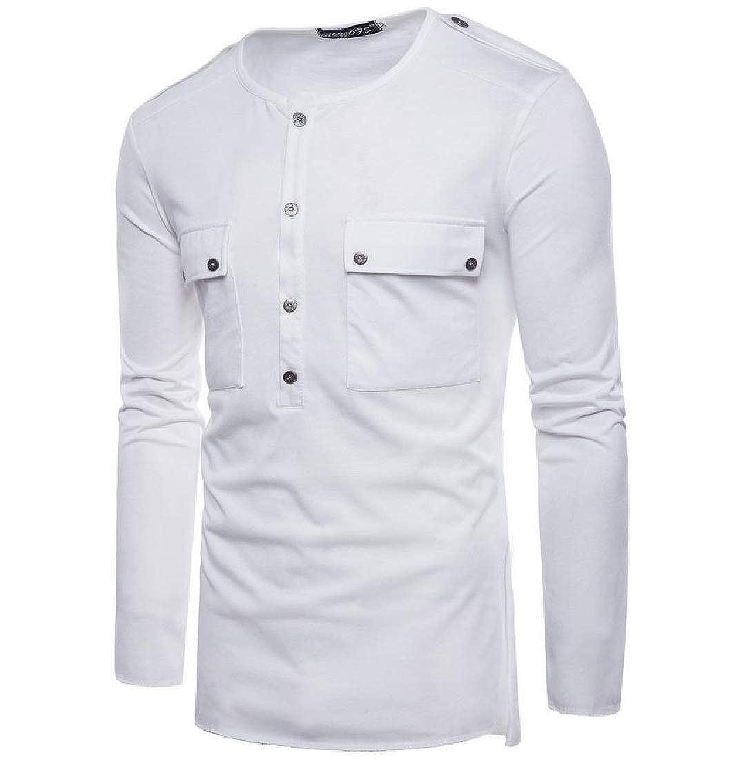 Winwinus Mens Tops Pullover Long Sleeve Pure Color Blazer Stylish T-Shirts