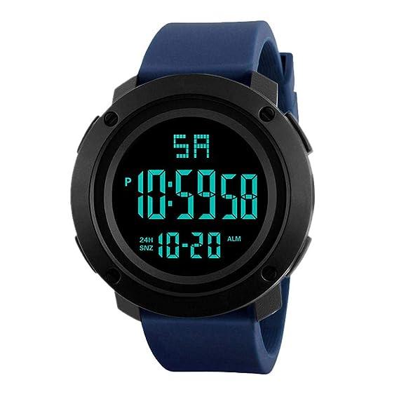 Occitop - Reloj de Pulsera Digital LED Resistente al Agua para Hombre, Elegante Reloj electrónico