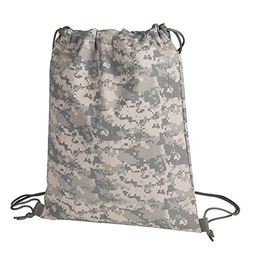Hiking Sport Campping Digital Camo Drawstring Bag w/ Zipper Cinch Drawstring