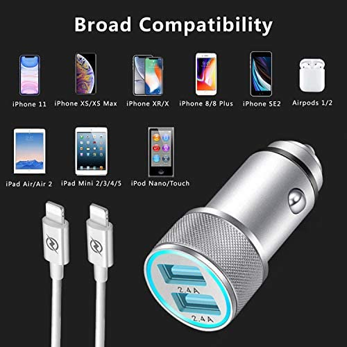 TIKALONG Car Charger Compatible with iPhone 11/12 /XR/XS/X/Pro Max 8/7/6/6S Plus 5S/5C/SE2, iPad Air Mini Pro (2.4A Dual Port USB Car Charger with 2X 3ft Charging Cable) (3in1 Pack)