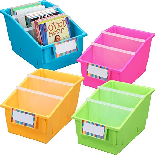 Really Good Stuff Large Plastic Labeled Book and Organizer Bin for Classroom or Home Use – Sturdy Plastic Book Bins in Fun Neon Colors – (Set of 4)