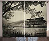 Ambesonne Asian Curtains, Long Exposure Chinese Spiritual Building Religious Traditional Sacred Japanese Picture, Living Room Bedroom Window Drapes 2 Panel Set, 108 W X 108 L Inches, Sepia Review