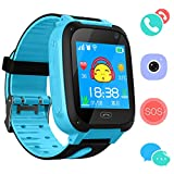 Kids Phone Smart Watch for 3-12 Year Boys Girls GPS/LBS Tracker Touch Screen SOS Anti-lost Camera Game Digital Wrist Sim Children Holiday Birthday Gift (Blue)