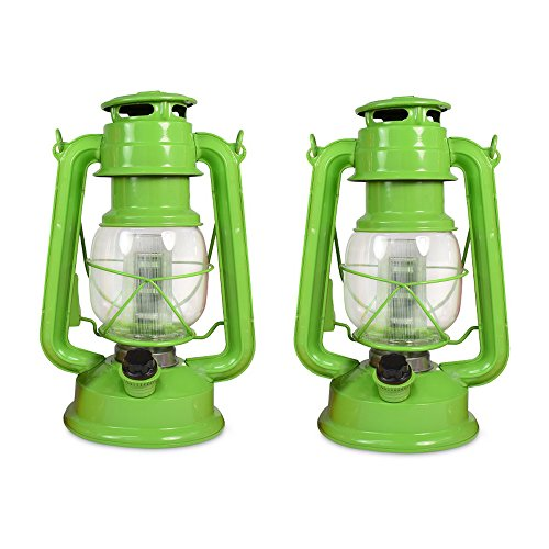 NORTH POINT Vintage Style Hurricane Lantern with 12 LED's and 150 Lumen Light Output and Dimmer Switch, Battery Operated Hanging Lantern for Indoors and Outdoor Usage - Pack of 2