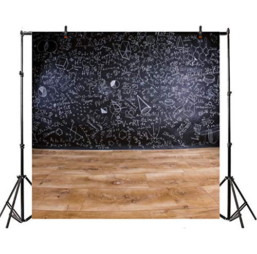 Leowefowa 6x5ft Back to Shool Theme Chalkboard Educational Chalkdrawing Backgroud Classroom Interior Vintage Wood Floor Students Learning Knowledge New Academic Year Begin Children Party Props ()
