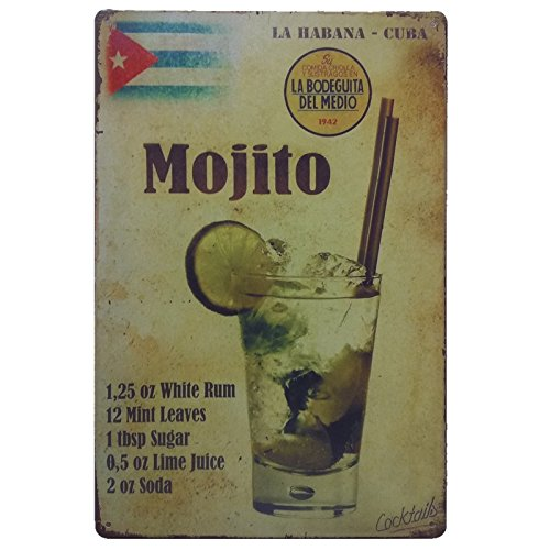 Havana Rum Club (+Urbano Mojito Sign - Retro Look Tin Signs for Home, Pub, Bar, Restaurant, Deco Wall, Decor, Poster 8 x 12 Inches Size)