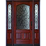 Exterior Front Entry Valencia Deluxe Wood Door with Sidelights Amazon com  Glass Doors Tools Home