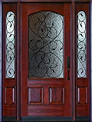 Exterior Front Entry Valencia Deluxe Wood Door with Sidelights